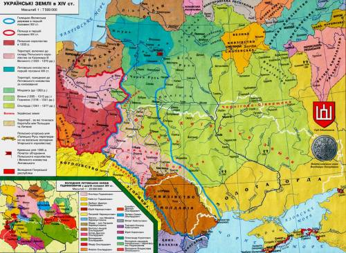 Карта 7і 11 українські землі в 14 ст
